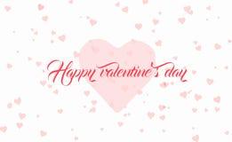 Fondo de las tarjetas del día de San Valentín con el corazón y el texto Fotos de archivo libres de regalías