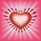 Fondo de las tarjetas del día de San Valentín con el corazón y los rayos stock de ilustración