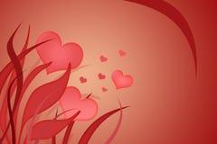 Fondo de las tarjetas del día de San Valentín con los corazones fotos de archivo