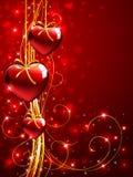 Fondo de las tarjetas del día de San Valentín con los corazones del rojo del árbol Fotografía de archivo libre de regalías