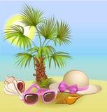 fondo de las vacaciones de verano con la palma, la silla, el sombrero, las cáscaras y las gafas de sol libre illustration