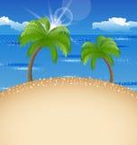 Fondo de las vacaciones de verano con la playa, palma, cielo Imagen de archivo libre de regalías