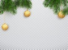 Fondo de las vacaciones de invierno Frontera con las ramas y los ornamentos de árbol de navidad aislados en blanco Ejemplo del ve libre illustration