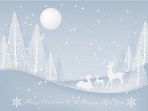 Fondo de las vacaciones de la Navidad con la familia del ciervo en la colina cerca de ?rboles de pino con las nevadas ilustración del vector