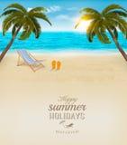 Fondo de las vacaciones Playa con las palmeras y el mar azul Imagenes de archivo