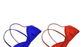 Fondo de las vacaciones de verano, trajes de los accesorios del viaje, bik rojo Foto de archivo libre de regalías
