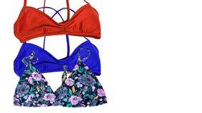 Fondo de las vacaciones de verano, trajes de los accesorios del viaje, bikini Foto de archivo libre de regalías