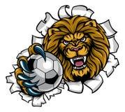 Fondo de Lion Holding Soccer Ball Breaking libre illustration