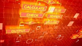 Fondo de los algoritmos con las cartas de oro ilustración del vector