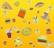 Fondo de los alimentos de preparación rápida ilustración del vector