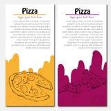 Fondo de los alimentos de preparación rápida Banderas de la pizza Imágenes de archivo libres de regalías