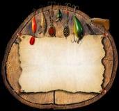 Fondo de los aparejos de pesca - tronco Foto de archivo libre de regalías