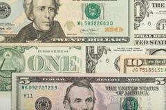 Fondo de los billetes de banco del dinero del dólar de los E.E.U.U. Fotografía de archivo libre de regalías