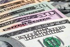 Fondo de los billetes de dólar del primer Imágenes de archivo libres de regalías