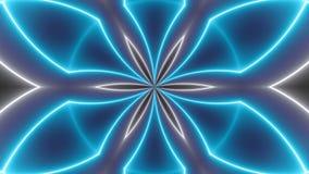 Fondo de los caleidoscopios del disco con las líneas coloridas de neón que brillan intensamente y las formas geométricas almacen de video