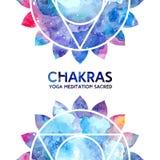 Fondo de los chakras de la acuarela Imágenes de archivo libres de regalías