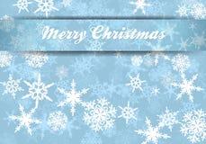 Fondo de los copos de nieve de la tarjeta de la Feliz Navidad Imagen de archivo