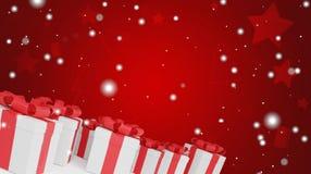 Fondo de los copos de nieve 3d-illustration de los regalos de Navidad stock de ilustración