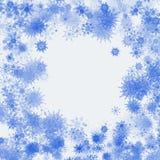 Fondo de los copos de nieve de la acuarela de la Navidad Copos de nieve azules aislados en el fondo blanco ilustración del vector