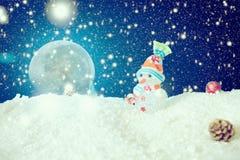Fondo de los copos de nieve de la Luna Llena del hombre de la nieve Los elementos de esta imagen equipados por la NASA foto de archivo