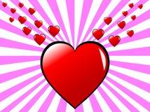 Fondo de los corazones de las tarjetas del día de San Valentín Imágenes de archivo libres de regalías