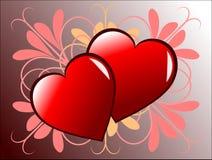 Fondo de los corazones de las tarjetas del día de San Valentín stock de ilustración