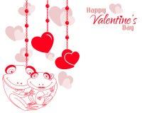 Fondo de los corazones de los pares de la rana de la tarjeta del día de San Valentín stock de ilustración