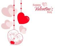 Fondo de los corazones de los pares de la tarjeta del día de San Valentín Fotografía de archivo