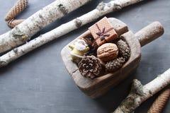 Fondo de los días de fiesta de la Navidad Objeto del pino Cones Santa y un regalo Fotos de archivo