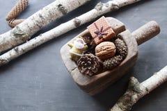 Fondo de los días de fiesta de la Navidad Objeto del pino Cones Santa y un regalo Fotografía de archivo libre de regalías