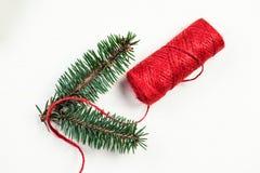 Fondo de los días de fiesta de la Navidad con las decoraciones festivas en pizca Imagenes de archivo
