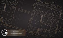 Fondo de los dibujos de la ingeniería industrial en oscuridad fotos de archivo