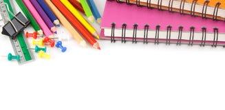 Fondo de los efectos de escritorio - accesorios de la educación en blanco Fotos de archivo libres de regalías