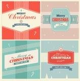 Fondo de los elementos de la Navidad del vintage con stock de ilustración