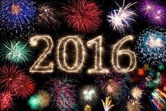 Fondo de los fuegos artificiales de la Feliz Año Nuevo 2016 Imágenes de archivo libres de regalías