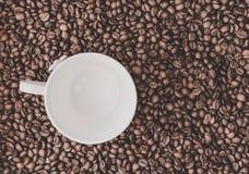 Fondo de los granos de café con la taza blanca Imagen de archivo libre de regalías