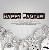 Fondo de los huevos de Pascua con el libro de colorear del modelo en blanco y negro ilustración del vector