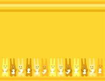 Fondo de los huevos de Pascua de la diversión tres del conejito de pascua para la tarjeta de felicitaciones stock de ilustración