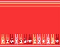 Fondo de los huevos de Pascua de la diversión tres del conejito de pascua para la tarjeta de felicitaciones libre illustration