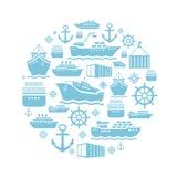 Fondo de los iconos de la nave y del barco transporte Fotos de archivo libres de regalías