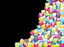 Fondo de los iconos del app del teléfono móvil Imágenes de archivo libres de regalías