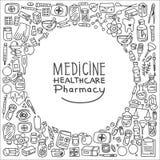 Fondo de los iconos del garabato de la atención sanitaria Imagen de archivo libre de regalías