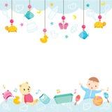 Fondo de los iconos y de los objetos del bebé stock de ilustración
