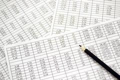 Fondo de los números en el papel de las hojas Imagenes de archivo