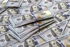 Fondo de los nuevos billetes de banco cientos dólares Fotografía de archivo libre de regalías