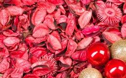 Fondo de los pétalos de rosas con las bolas del ornamento de la Navidad rojas y el oro brillante Plantilla del amor para las flor Imagenes de archivo