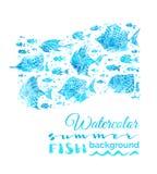 Fondo de los pescados del verano de la acuarela del vector stock de ilustración