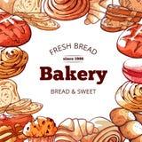 Fondo de los productos de la panadería, fresco y sabroso del pan ilustración del vector