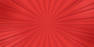 Fondo de los rayos de los tebeos con los tonos medios Vector ilustración del vector