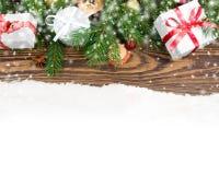 Fondo de los regalos de la Navidad Fotografía de archivo